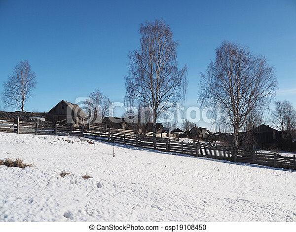 Russian village in winter - csp19108450