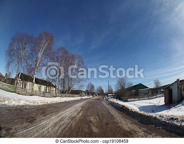Russian village in winter - csp19108459