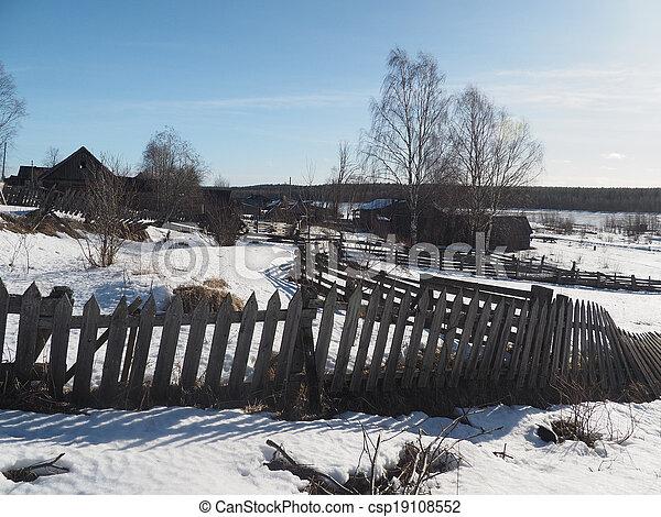 Russian village in winter - csp19108552