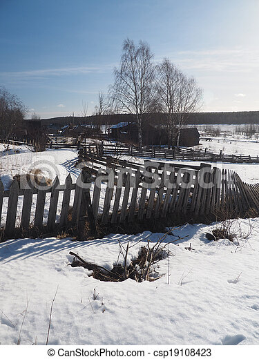 Russian village in winter - csp19108423
