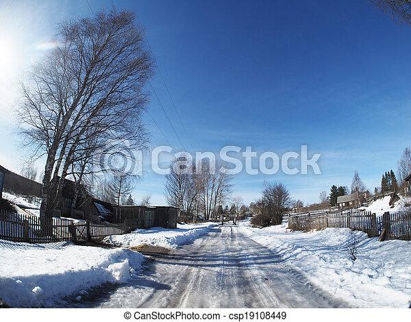 Russian village in winter - csp19108449