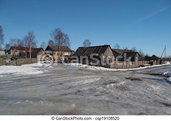 Russian village in winter - csp19108520