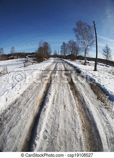 Russian village in winter - csp19108527