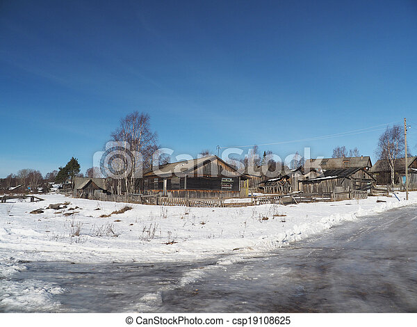 Russian village in winter - csp19108625