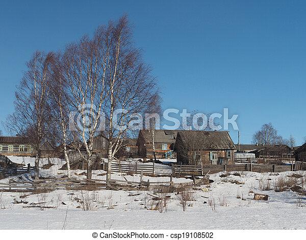 Russian village in winter - csp19108502