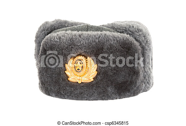 8bb7d4285 Russian winter army hat isolated on white background