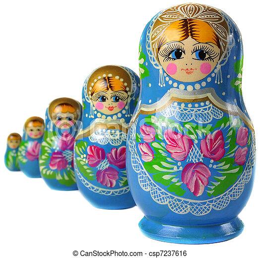Russo, matrioska, bambola. Bambola russa, matrioska, lato.
