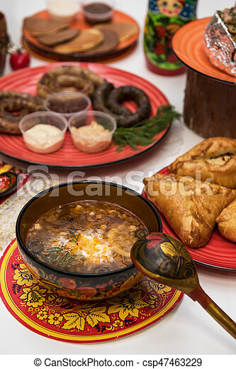 russo, tavola, cibo - csp47463229
