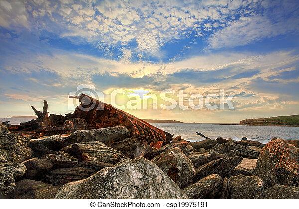 Rusted shipwreck at Botany Bay Sydney Australia - csp19975191