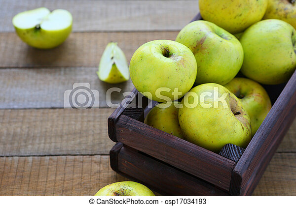 rustic apples in a box - csp17034193