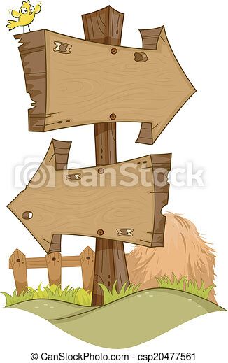 Illustration Featuring Rustic Arrow Signs Clip Art Vector