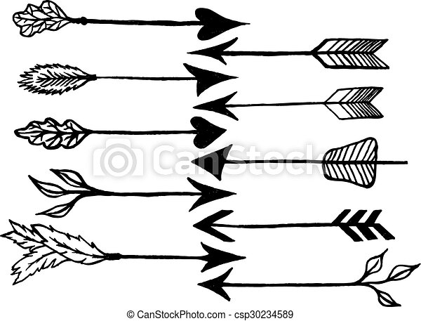 Rustic Arrows Cute Hand Drawn Doodles Set Tribal Ethnic