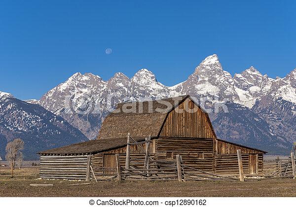 Rustic Barn against the Tetons - csp12890162