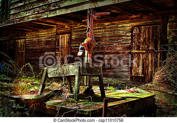 Rustic Barn Old Backside Of Farm With Vintage Watr Pump