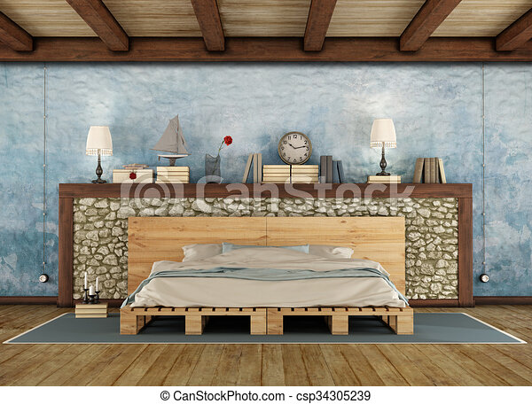 Rustic Bedroom With Pallet Double Bed   Csp34305239
