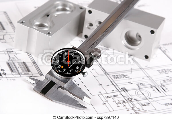 rustic caliper on mechanic blue prints  - csp7397140