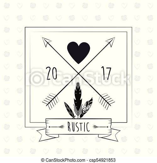 Rustic Card Greeting Feather Heart With Arrow