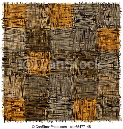 Rustic checkered mat with grunge striped rough square elements in yelow, beige, grey, blak colors isolated on white - csp65477148