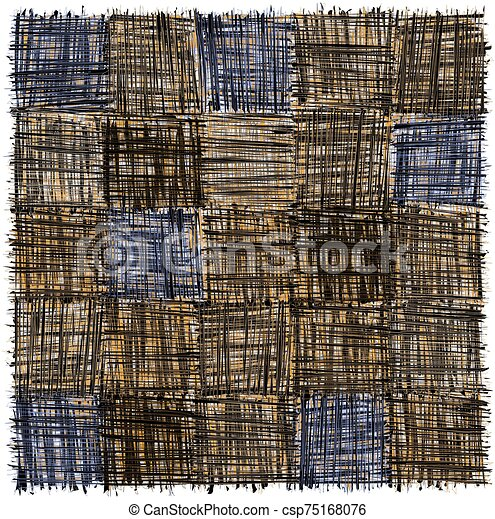 Rustic checkered mat with grunge striped rough square elemen in brown, blue ,grey, yellow colors isolated on white - csp75168076