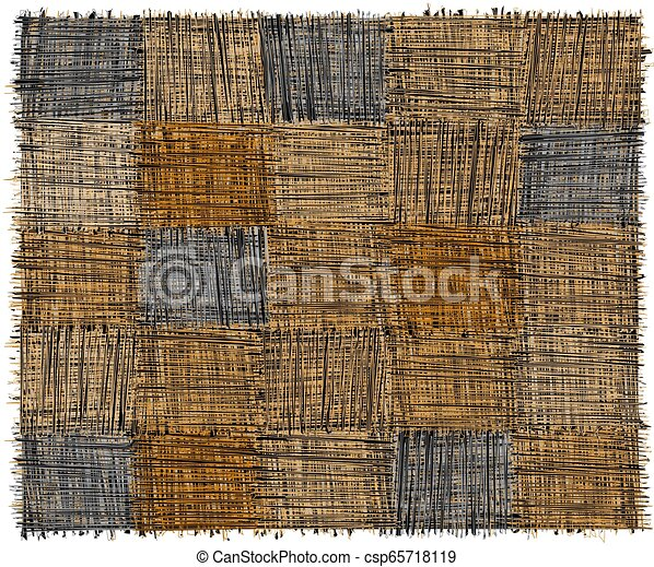 Rustic checkered mat with grunge striped rough rectangular elements in blue, yelow, beige, grey colors isolated on white - csp65718119