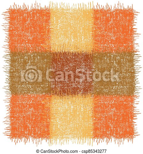 Rustic checkered rug, mat, carpet, serviette, napkin with square grunge woven elements in orange, brown, yellow colors isolated on white - csp85343277