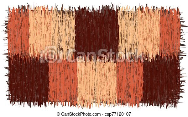 Rustic checkered rug with grunge striped square elements with fringe in brown, orange, beige colors isolated on white - csp77120107
