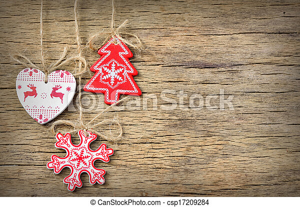 rustic christmas decoration on old wood background csp17209284 - Rustic Christmas Background