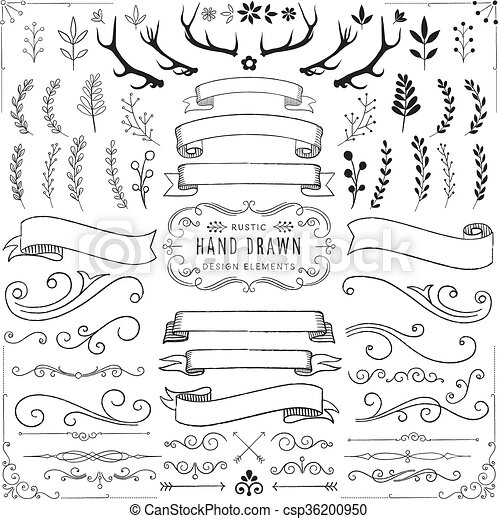Rustic Clipart Set Ornaments Florals Banners And Scrolls