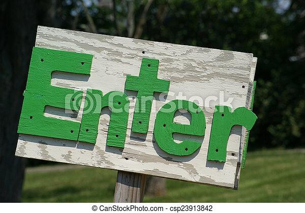 Rustic Enter Sign Green - csp23913842