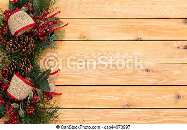 Rustic Festive Christmas Border With Burlap Bows Red