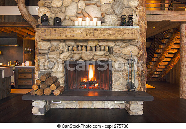Rustic Fireplace - csp1275736
