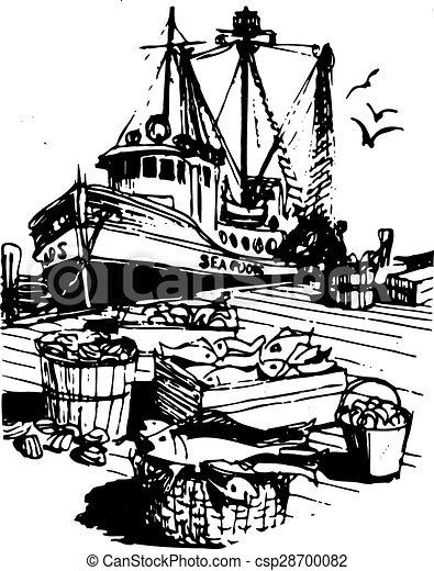 Rustic Fishing Boat - csp28700082
