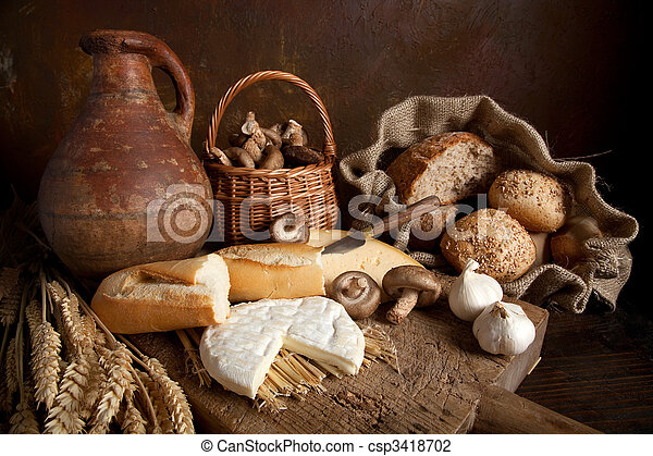 Rustic Food Country Still Life With Bread Cheese