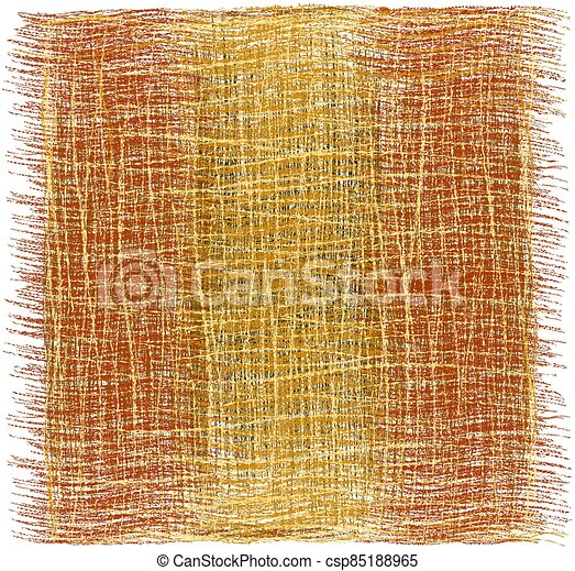 Rustic grunge striped woven rug, mat, carpet, plaid with fringe in brown, beige, orange colors isolated on white - csp85188965