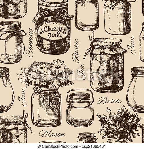 Rustic, mason and canning jar. Vintage hand drawn seamless pattern - csp21665461