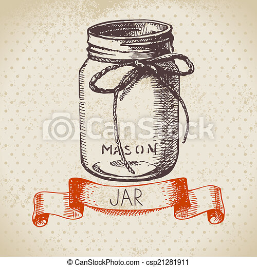 rustic mason and canning jar vintage vector clip art csp21281911