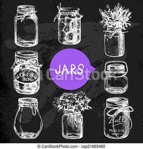 Rustic, mason and canning jars hand drawn set. Sketch design  - csp21665460