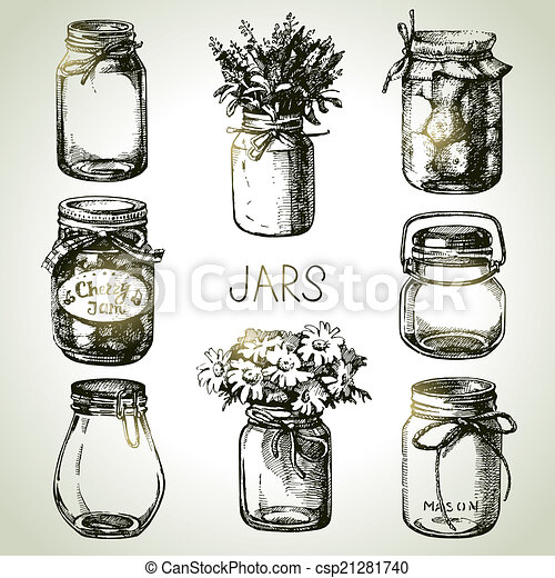 Rustic, mason and canning jars hand drawn set. Sketch design - csp21281740