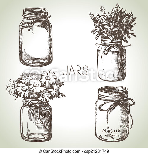 Rustic, mason and canning jars hand drawn set. Sketch design - csp21281749