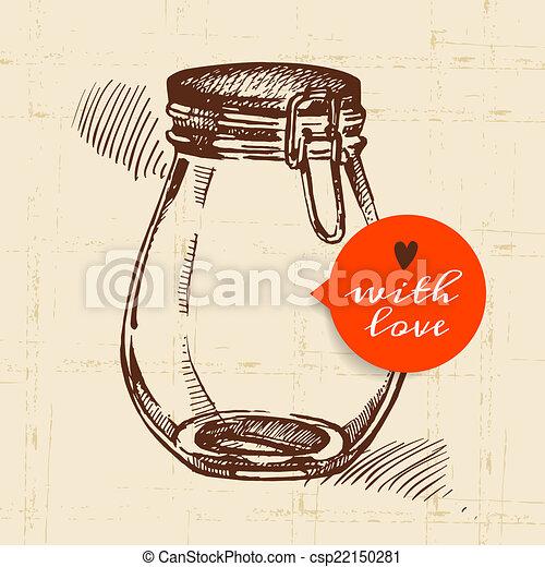 Rustic mason canning jar. Vintage hand drawn sketch design.  - csp22150281
