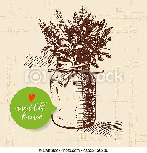 Rustic mason canning jar. Vintage hand drawn sketch design.  - csp22150286