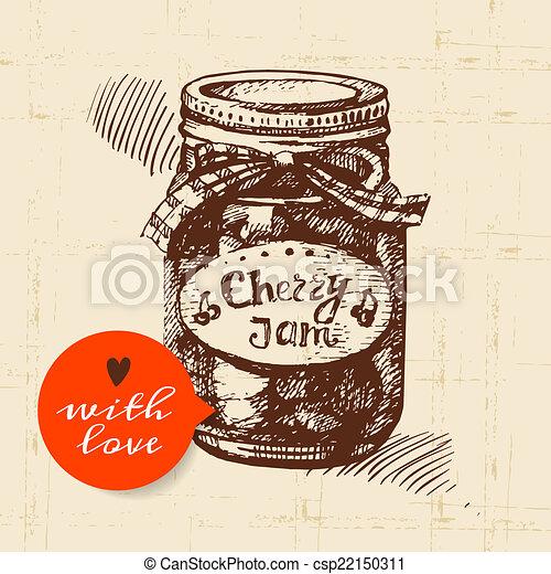 Rustic mason canning jar. Vintage hand drawn sketch design. - csp22150311