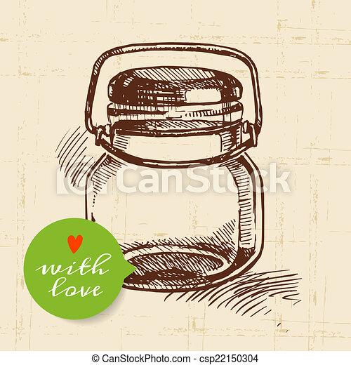 Rustic mason canning jar. Vintage hand drawn sketch design. - csp22150304
