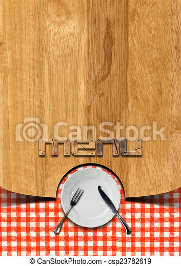 rustic menu template wooden brown background with checkered