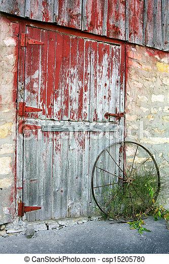 Rustic Old Barn Door - csp15205780