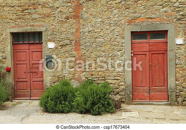 rustic old doors on tuscan farm Italy - csp17673404 & Rustic old doors on tuscan farm italy .