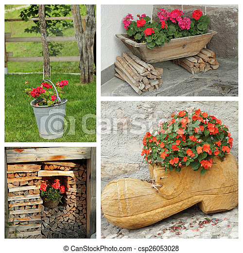 rustic planters with flowers - group of images - csp26053028