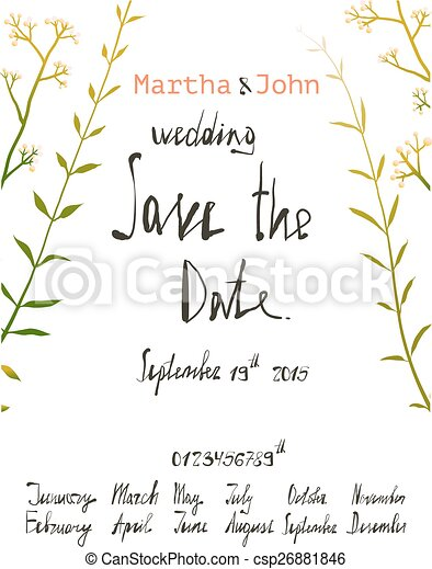 Rustic save the date invitation card template with inky calligraphy rustic save the date invitation card template with inky calligraphy csp26881846 stopboris Image collections