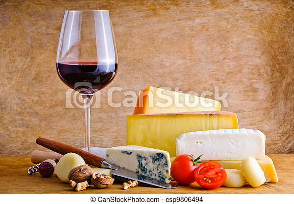 Rustic snack with cheese and wine - csp9806494