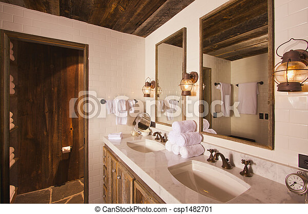 Rustic Spa Bathroom Luxurious With Mining Lamps In